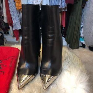 381/2 black sliver toe Christian Louboutin boots